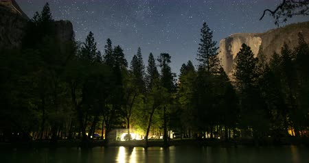 Yosemite Night Landscape. A Moonlit Time Lapse view towards Iconic Half Dome.
