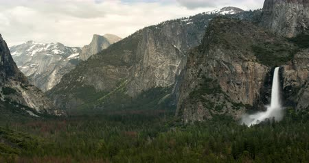 Yosemite Valley with Bridal Veil Falls at Max Flow During Heavy Spring Snow Melt