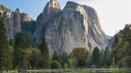 Yosemite Valley Landscape. Reflections on Standing Water during Spring Flooding. Quick Zoom Out.