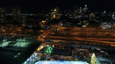 centrum : Aerial View Center City Philadelphia & Surrounding Area at Night