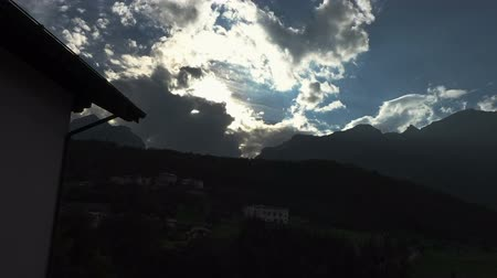 dolomitok : Clouds timelapse on mountains at sunset Stock mozgókép