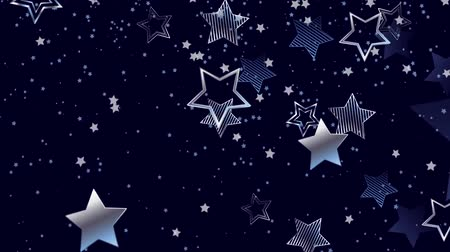 estrela : Blue, night, background with shiny, silver stars.