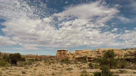 Timelapse of stratus clouds at Canyonlands National Park, Needles District, Utah. Camera is panning left to right. Clouds also moving left to right.