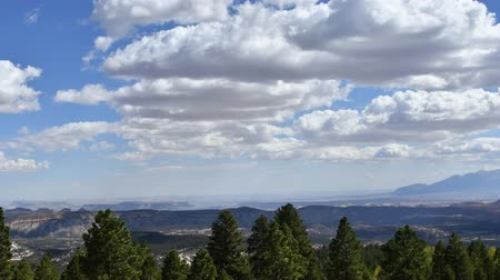 Time-lapse of stratus clouds from the Dixie national Forest, looking into Capitol Reef National Park. Camera locked.