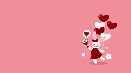 ansichtkaart : Valentines Day cute cartoon animation of a rabbit girl with red ribbon and red dress holding red and white heart shaped balloons and a bouquet have wiggle on pink background with your copy space. Stockvideo