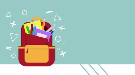papírnictví : Cute animation of book, notebook, ruler, pencils and crayons in red backpack have wiggle on blue background with your copy space. Back to school concept for video cartoon footage.