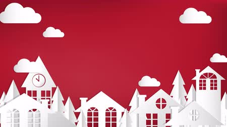 zegar : Cute cartoon animation of urban landscape of city village with wiggle cloud on red background with your copy space. footage design in paper art and craft style.