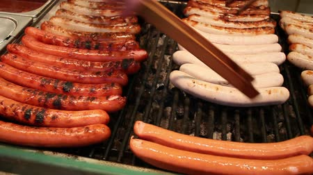 kiełbasa : german sausage grill on a christmas market