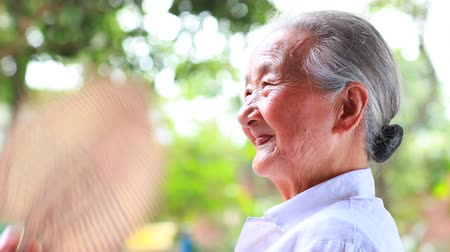 asian family : happy senior asian woman close up Stock Footage