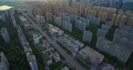 cbd : Aerial view of Chengdu Cityscape of residential buildings with sense trees , nice housing apartment area Stock Footage