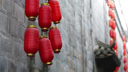 cny : Red lanterns in Jinli Chengdu city of Sichuan China, Chinese New Year decorations, Chinese Asia culture footages