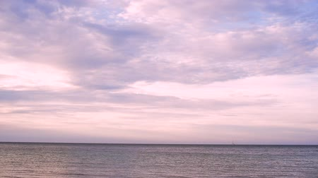 Peaceful and calm shot of a gently lapping sea and nice violet sky