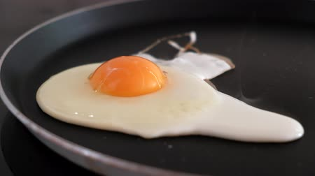 Close-up of one egg being fried on a frying pan