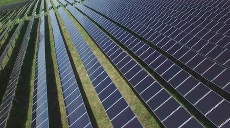 energy generation : Aerial industrial view Photovoltaic solar units  producing renewable energy. Stock Footage