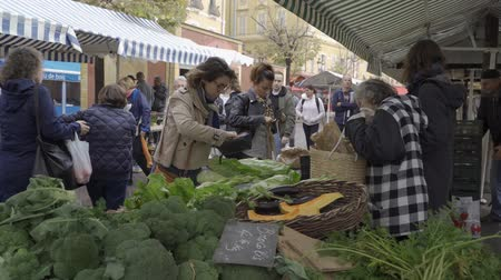 melão : NICE, FRANCE - NOVEMBER 10, 2018 - People shopping at farmer market and a stall with variety of organic vegetable and fruit in 4k