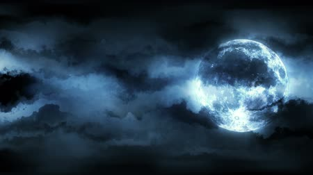 horror : Background with animated clouds and moon. Seamless loop. Stock Footage