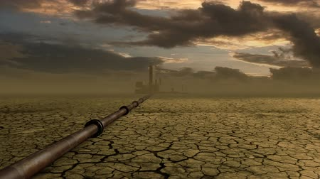 petrol : Wasteland background with pipeline and factory.