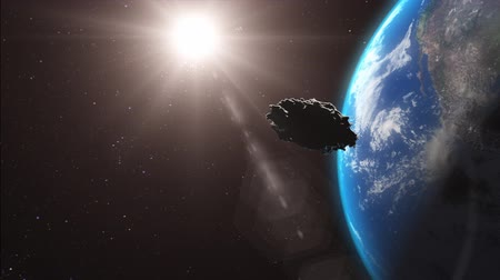 peril : Huge asteroid heading to Earth. Stock Footage