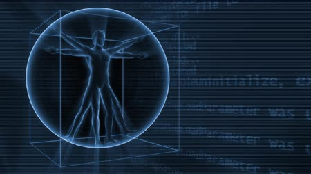 davinci : 3d rotating Da Vinci man on the background with science symbols. Seamless loop. Stock Footage