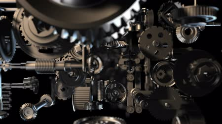 заводной : 3d background with animated clockwork machinery. Seamless loop Стоковые видеозаписи