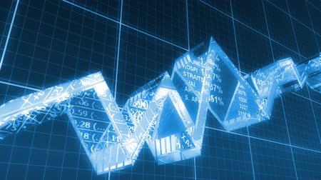 bank : 3d business chart line goes up. Loop. Stock Footage