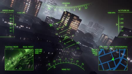 pilótafülke : 3d helicopter flight over big city at night. Loop. Stock mozgókép