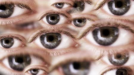 írisz : Multiple eyes are looking. Seamless loop. Depth of field.