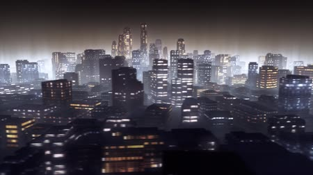 sunset city : 3d animated cityscape by night. Loop.