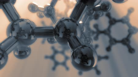 genética : 3d fight through complex model of molecule. Seamless loop. Depth of field.