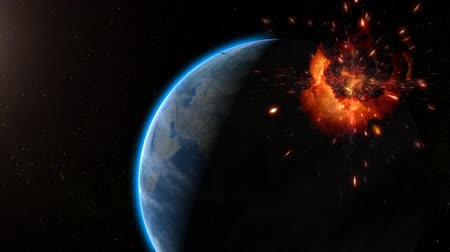 alienígena : Exploding satellite after hit by red laser beam from Earth