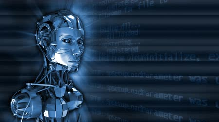 robots : 3d rotating robot on cybernetic background. Loop. Stock Footage