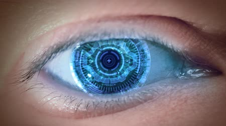 robots : Close up to eyeball with futuristic 3d targeting system. Loop.