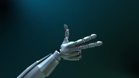 anlamı : Animated robot hand counting 1-5. Alpha channel. Depth of field.