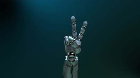 robot : Animated robot hand gesture Victory. Alpha channel. Depth of field.