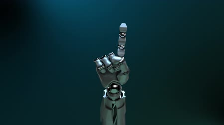 robots : Animated robot hand wagging finger. Alpha channel. Depth of field.
