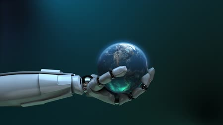 toy : Animated robot hand tossing Earth globe. Seamless loop. Alpha channel.  Stock Footage