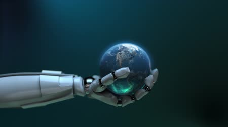 robots : Animated robot hand tossing Earth globe. Seamless loop. Alpha channel. Depth of field. Stock Footage