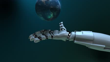 robot : Animated robot hand tossing Earth globe. Seamless loop. Alpha channel.  Stock mozgókép