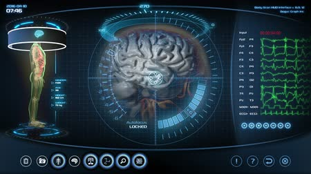 skenovat : Futuristic brain scan. Holographic medical application interface.