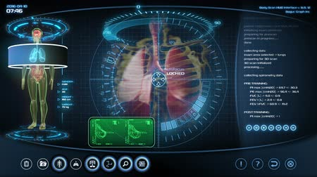 adat : Futuristic lungs scan. Holographic medical application interface.