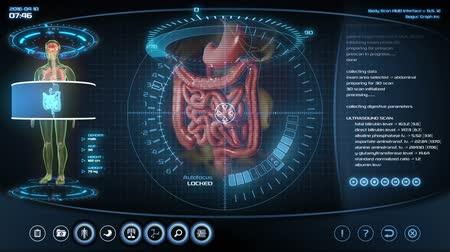устройство : Futuristic digestive system scan. Holographic medical application interface.