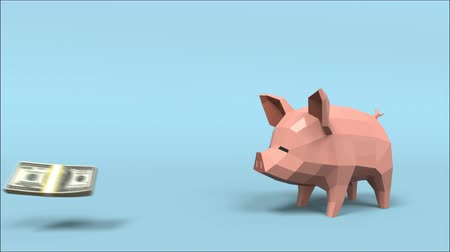 копилку : 3D animation gold coin pull down to piggy bank then money move out from pig mouth with 3d rendering.