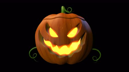 резной : Halloween pumpkin animation handle loop with 3d rendering include alpha PNG format. Стоковые видеозаписи