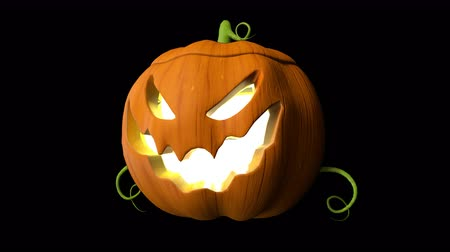 png : Halloween pumpkin animation handle loop with 3d rendering include alpha PNG format. Stock Footage