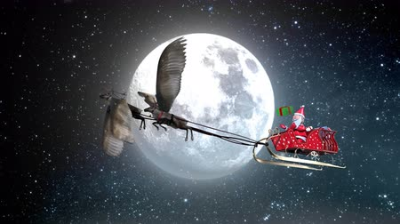geyik : The 3D animation Santa Claus drop gift box on sledge flying reindeer have wing with Full moon and star in background include snow environment. Stok Video