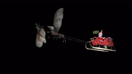 geyik : The 3D animation loop Santa Claus playing gift box on sledge flying reindeer flying include alpha background with PNG format.