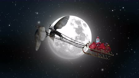 happy holidays : The 3D animation  Santa Claus dropping gift box on sledge flying reindeer have wing with Full moon and star in background include snow environment. Stock Footage