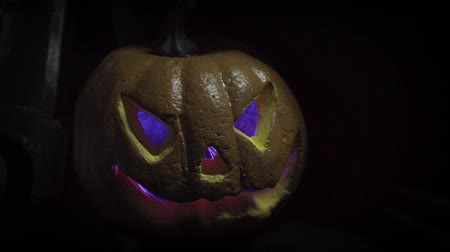 jack olantern : Old film look of halloween with only jack olantern Stock Footage