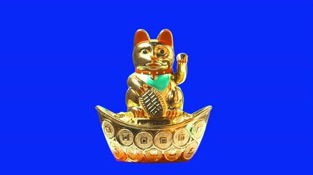 good luck coins : Lucky cat or maneki neko with money symbol for chinese culture Stock Footage