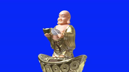 happiness symbol : Smiling buddha figure nod and blow a folding fan. Side view. Blue Screen.